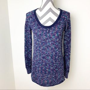 Free People multicolor knit crew tunic sweater S